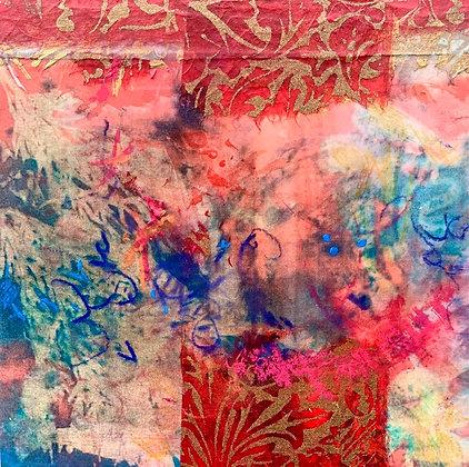 "Juliane Ketcher | Postcard #11 | Mixed Media on Wood | 6x6"""