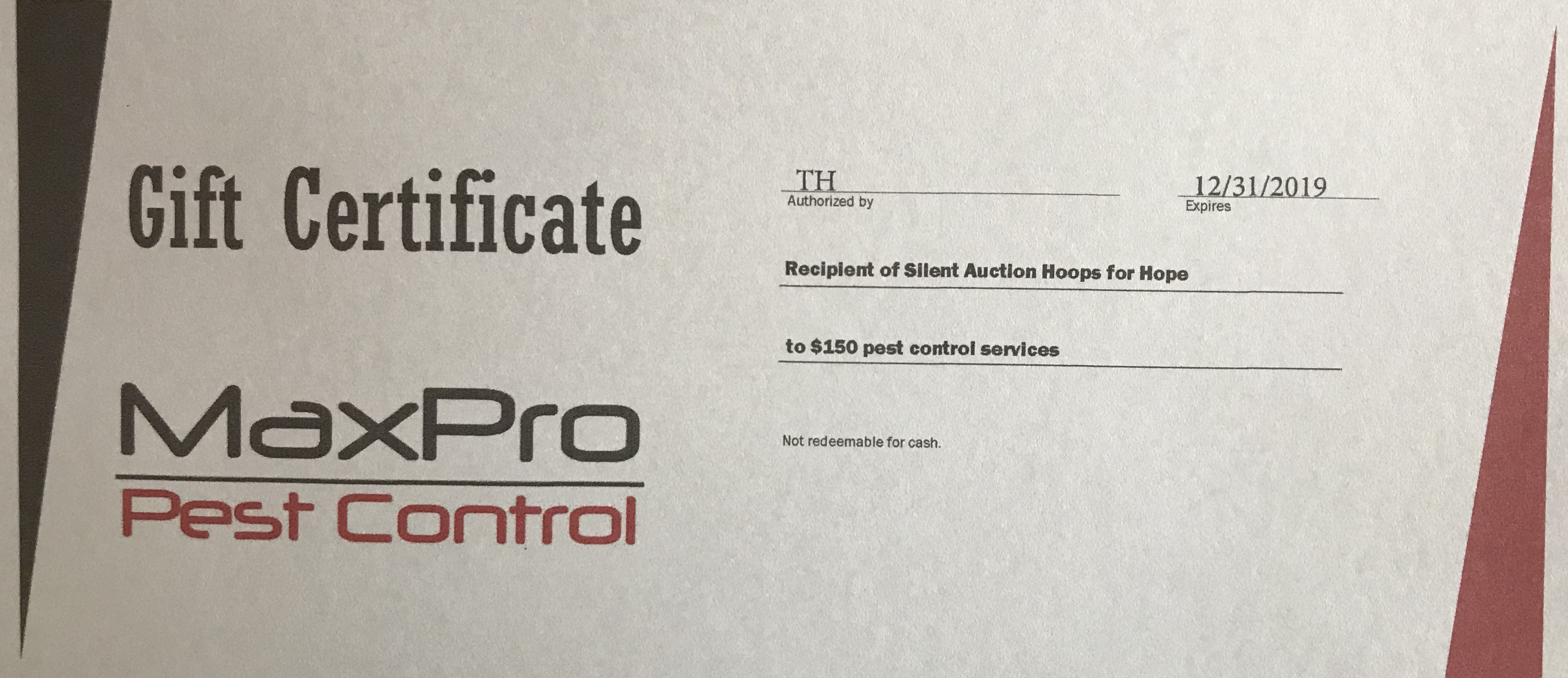 MaxPro Pest Control Gift Certificate