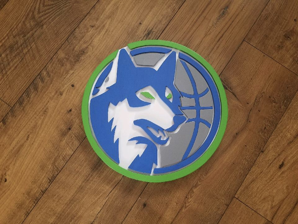 Minnesota Timberwolves Wood ArtworkCreated and Donated by Lori Hagl