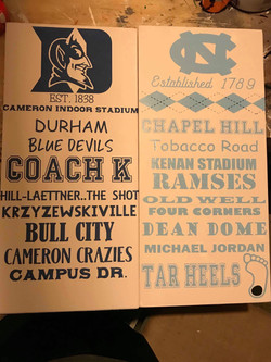 Duke & UNC Signs