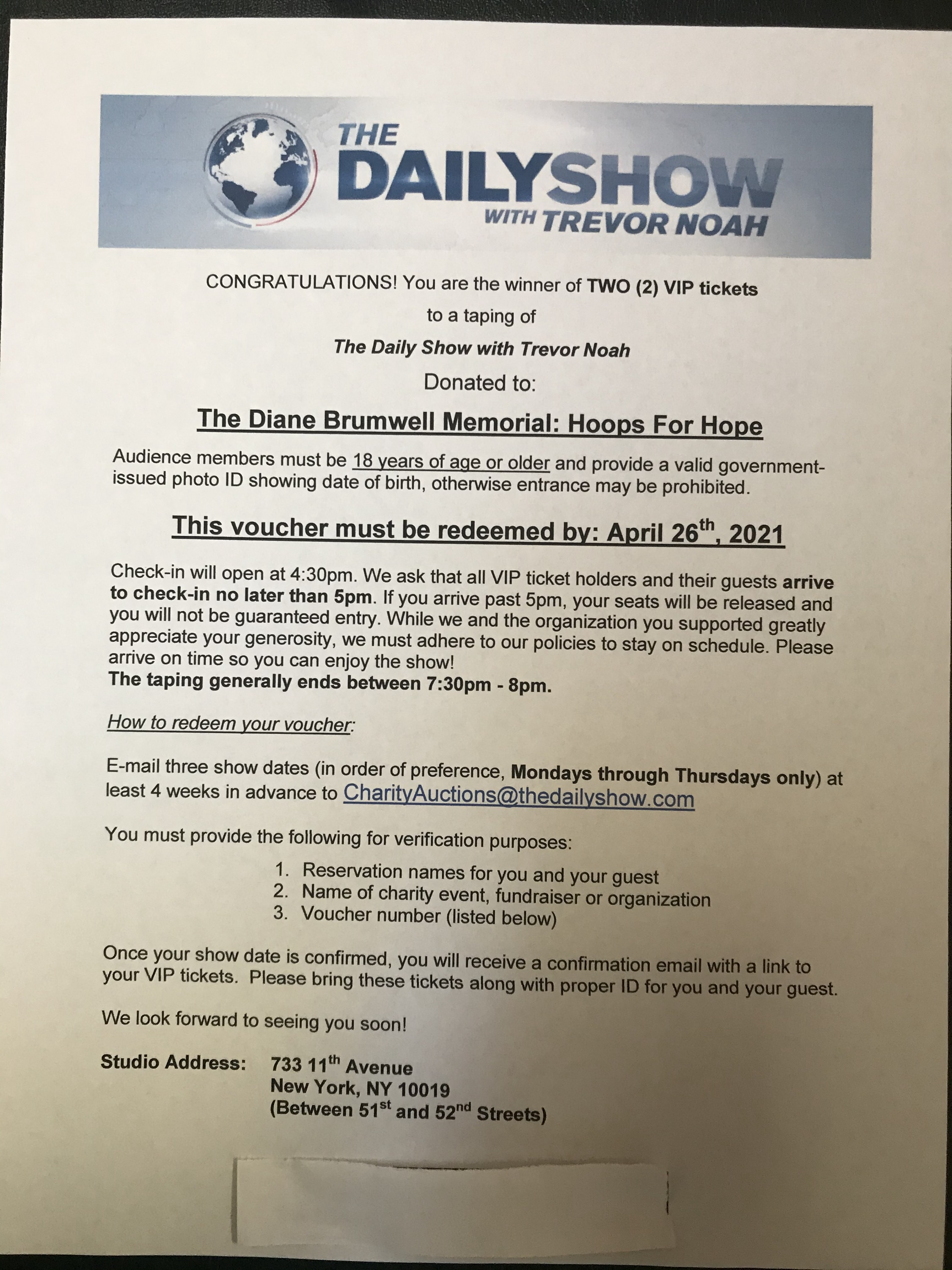 Two VIP tickets to a taping of The Daily Show with Trevor Noah!