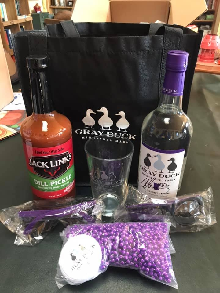 Autographed bottle of Gray Duck Vodka (Chad Greenway), Jack Links Dill Pickle Bloody Mary mix, Gray