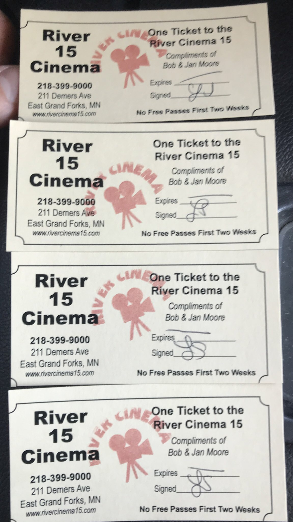 River Cinema 15 Movie Passes