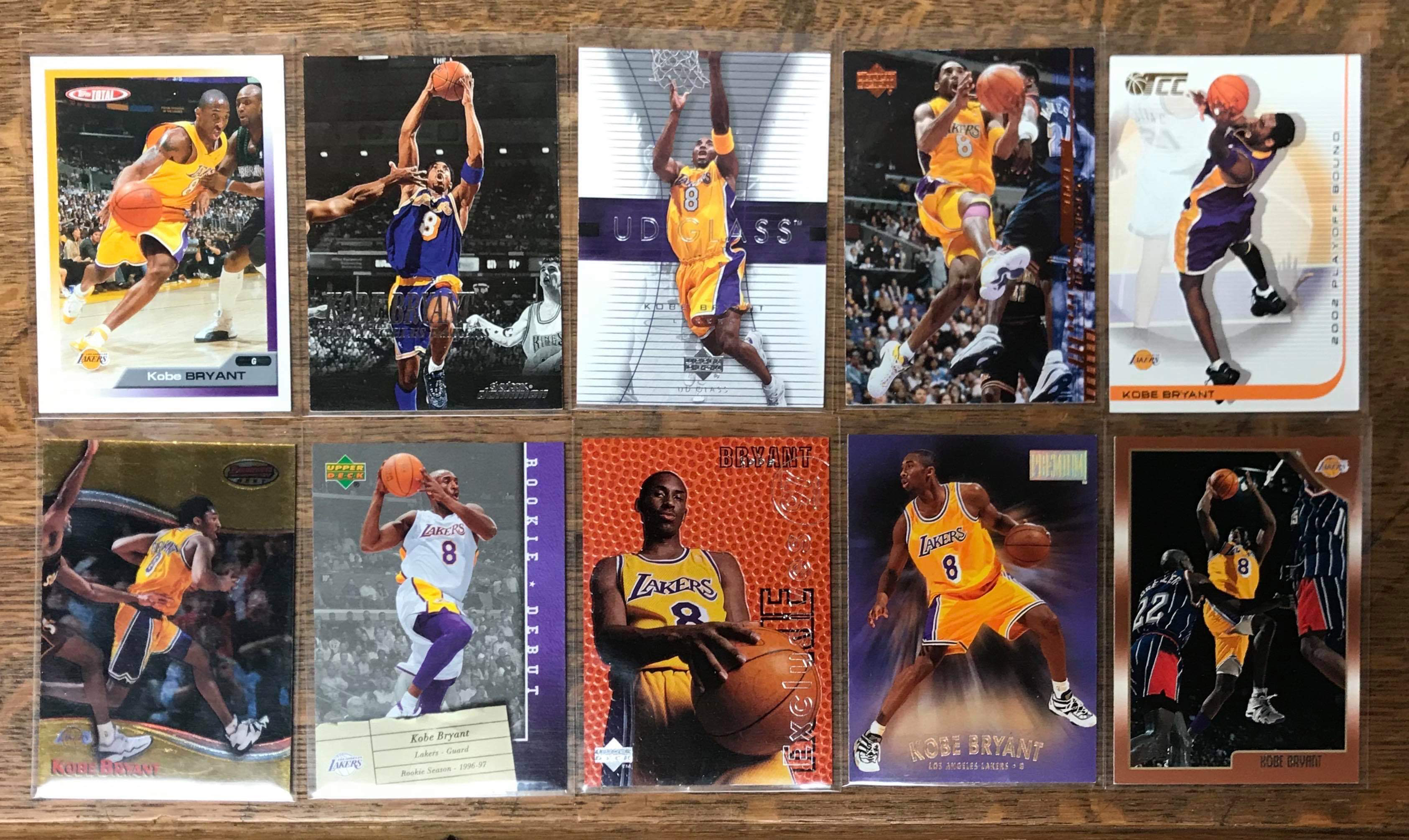 10 - Kobe Bean Bryant Cards donated by Justin Skjerven