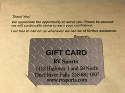 $25 RV Sports Gift Card