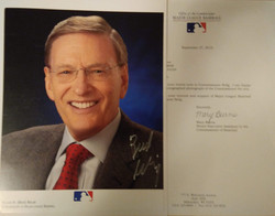 Bud Selig Autographed 8x10 donated by Corey Hanson