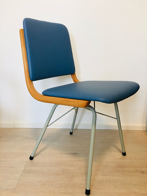 Metal, Wood & Eco-Leather Navy Blue Dining Chairs, 1960s