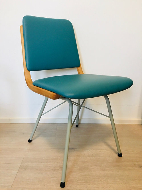 Metal, Wood & Eco-Leather Turquoise Dining Chairs, 1960s