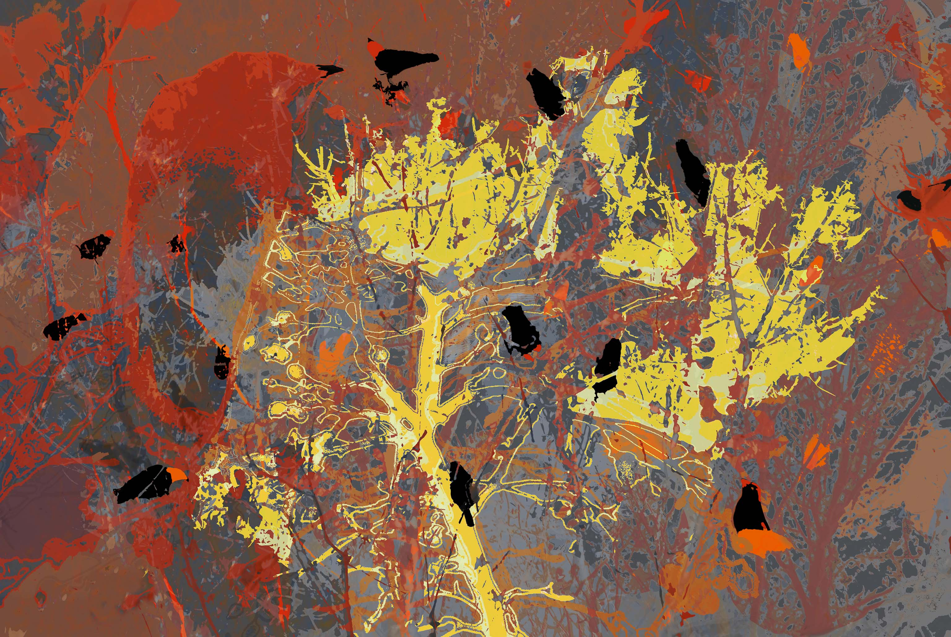 Blackbirds on the burning bush_web