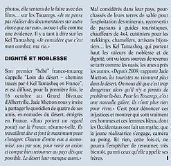 Magasine Echo Pays de Savoie sahara sahel jade mietton documentaire interview radio télévision presse article