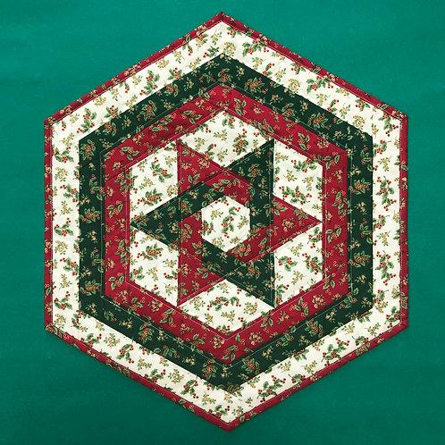 Mantel para mesa - rojo/verde/blanco - acebos