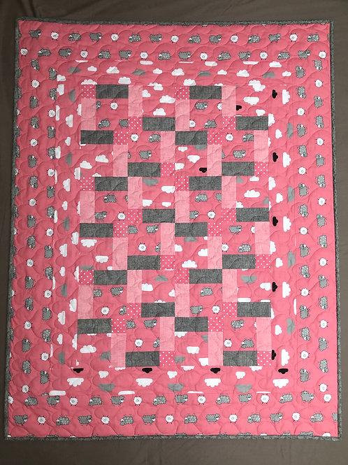 Manta para bebé - rosa/gris - ovejitas