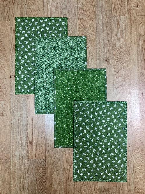 Mantel para mesa - individual - verde/blanco