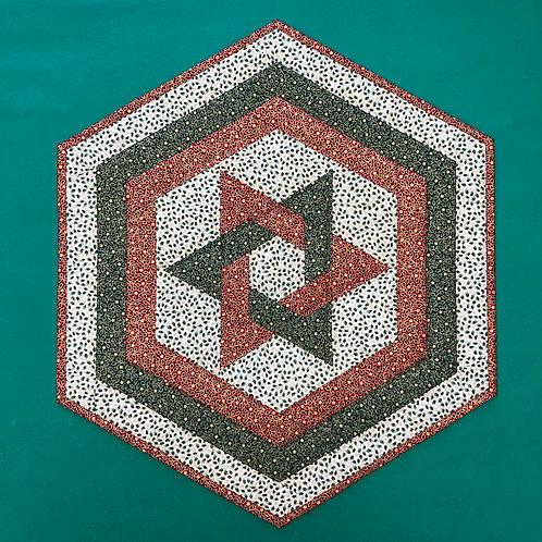 Mantel para mesa - rojo/verde/blanco - estrellas y hojas de acebos