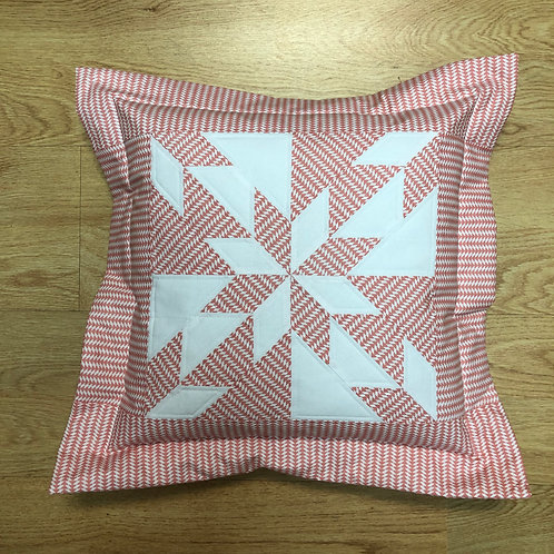 Cojín - estrella blanco/rosa