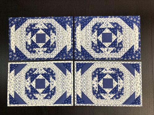 Juego de 4 manteles para mesa - individuales - azul/blanco