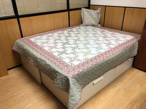 Edredón cama matrimonial - molinillos - rosa/verde claro/blanco