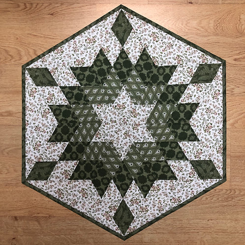 Mantel para mesa - verde/blanco/rosas