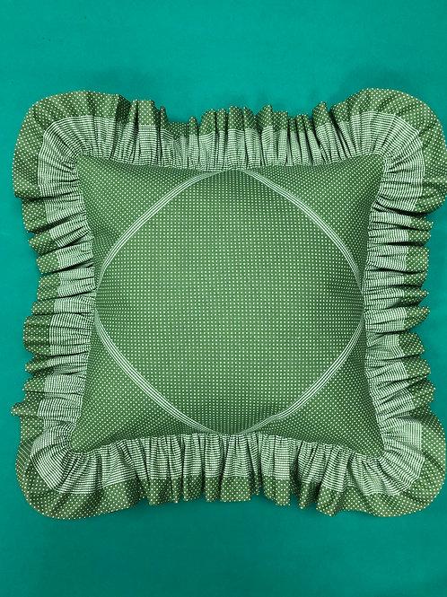 Cojín - verde con puntitos blancos
