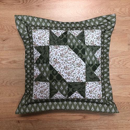 Cojín - verde/blanco/flores
