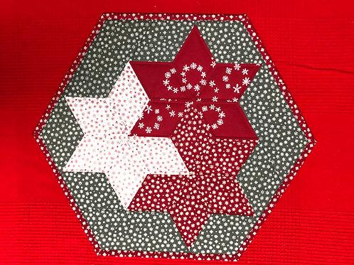 Mantel para mesa rojo/blanco/gris - copos de nieve