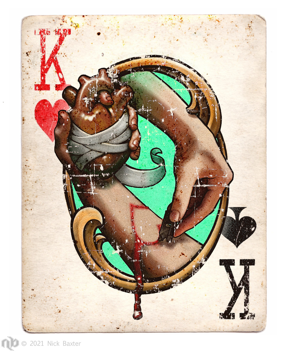 playing card, king of hearts and king of spades, hand holding human heart, hand cutting with razorblade