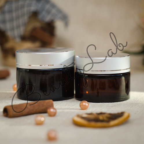 Баночка коричневая 30 гр, 50 гр (стекло, серебряная крышка)