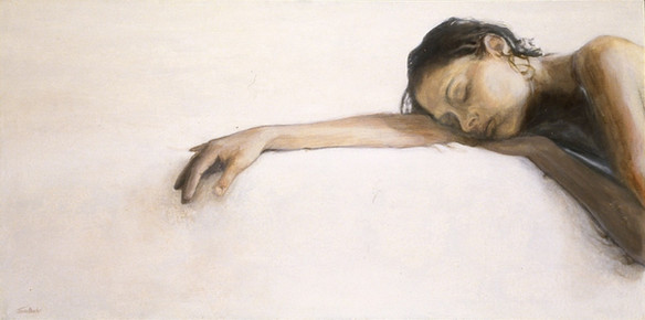 Woman Resting on White