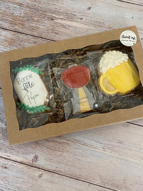Coffret 3 biscuits «cliché» fête des pères