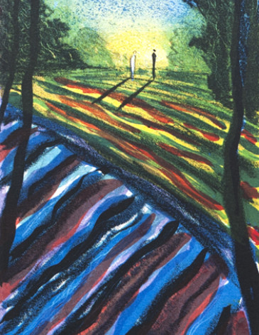 Landskap med blå sol
