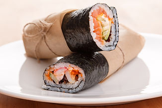 Sushi burrito - new trendy food concept.
