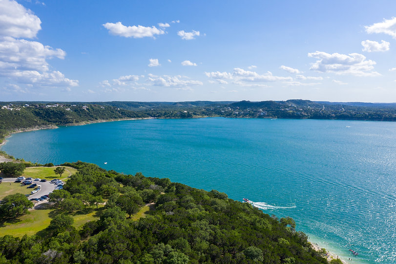 Aerial Shot above Canyon Lake in the Tex