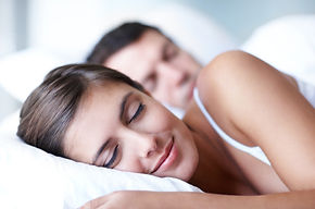 Insomnia cure with hypnosis, a woman sleeping soundly