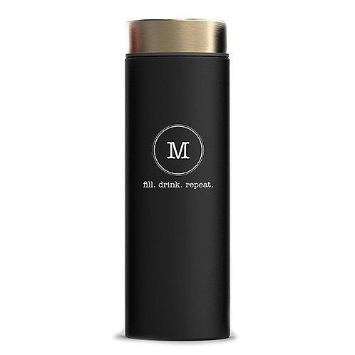 Bouteille d'eau isotherme - Noir élégant - Impression monogramme