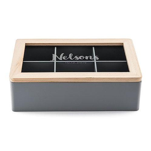 Boîte à souvenirs en bois avec couvercle en verre