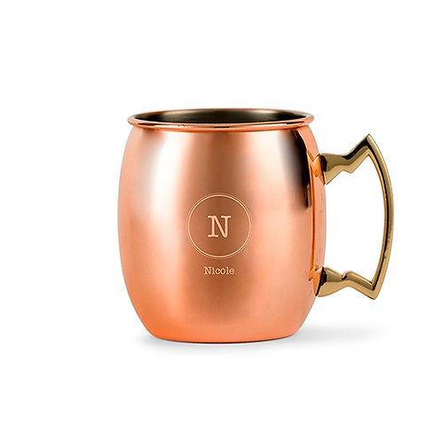 Tasse à boire en cuivre personnalisée - gravure initiale et prénom