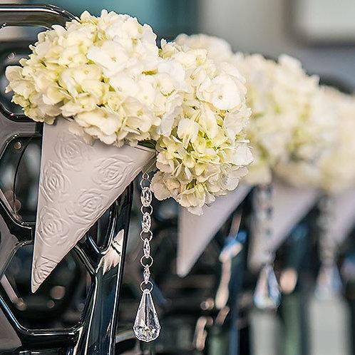 Cône en métal blanc pour cérémonie de mariage (x4)