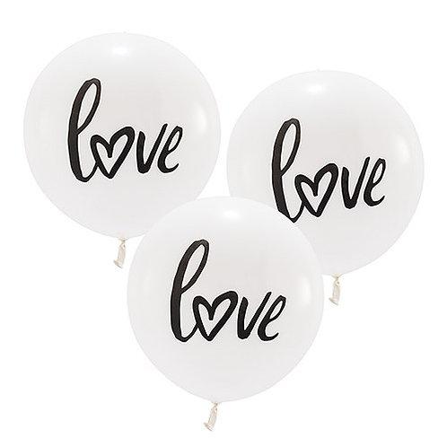 Ballon blanc rond LOVE - moyen modèle (x3)