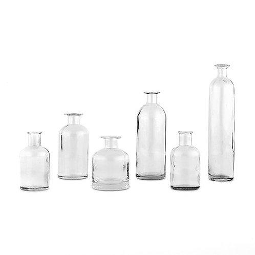 Ensemble de 6 bouteilles décoratives en verre - clair
