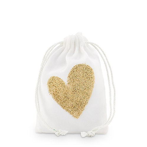 Sac à cordon en mousseline avec un coeur or (x12)