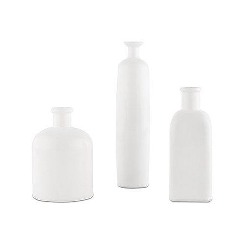 Ensemble de 3 bouteilles décoratives en verre - blanc