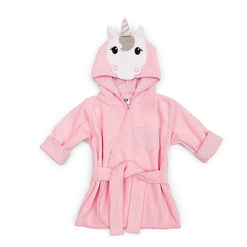 Peignoir à capuche rose - licorne