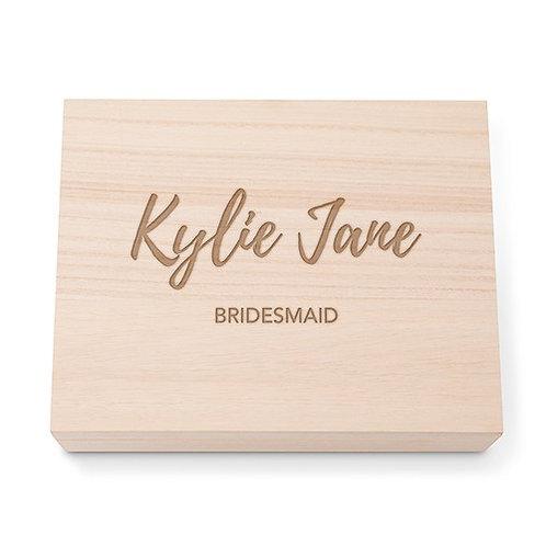 Boîte cadeau souvenir en bois personnalisée avec couvercle à charnière