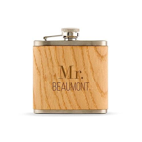 Flasque recouverte de bois personnalisé