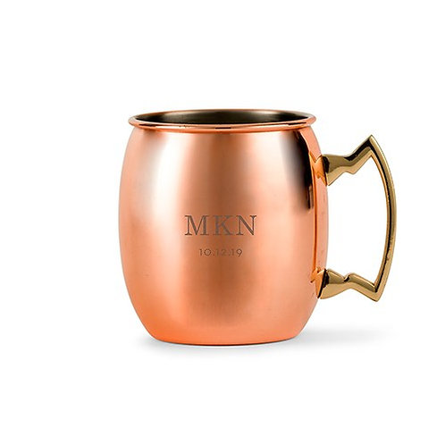 Tasse à boire en cuivre personnalisée - gravure initiales & date