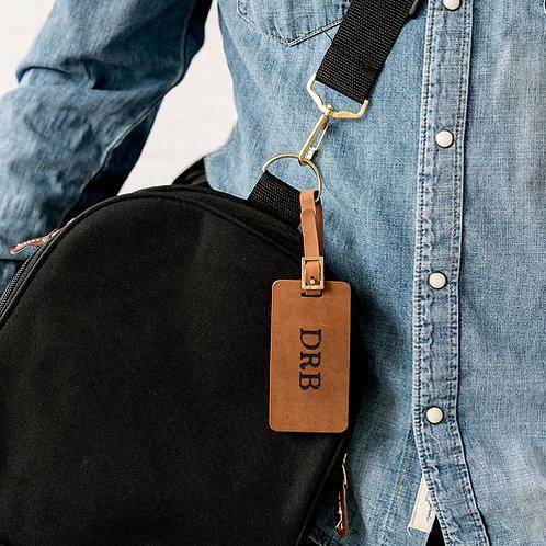 Etiquette de bagage en cuir véritable tanné - à personnaliser