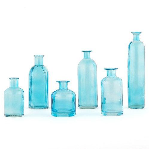 Ensemble de 6 bouteilles décoratives en verre - bleu