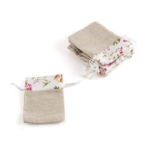 Sac à cordon vintage imprimé floral (x12)