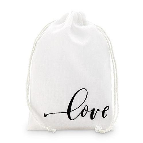 """Sac à cordon en mousseline imprimée """"Love"""" (x12)"""
