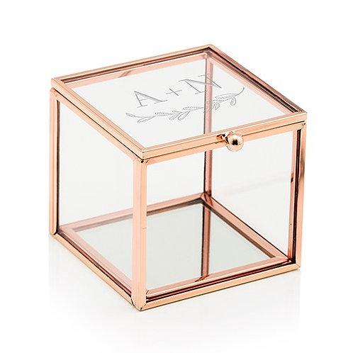 Boîte à bijoux en verre personnalisée avec fond miroir